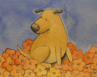 Dog in red yellow and orange flowers watercolor, pen and ink original illustration 5/30/12