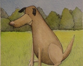 Dog in a field, watercolor, pen and ink original illustration 6/13/12