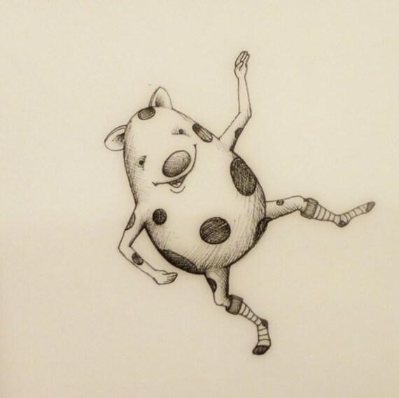 Poka-dot Monster in Socks pen and ink illustration 3/16/12