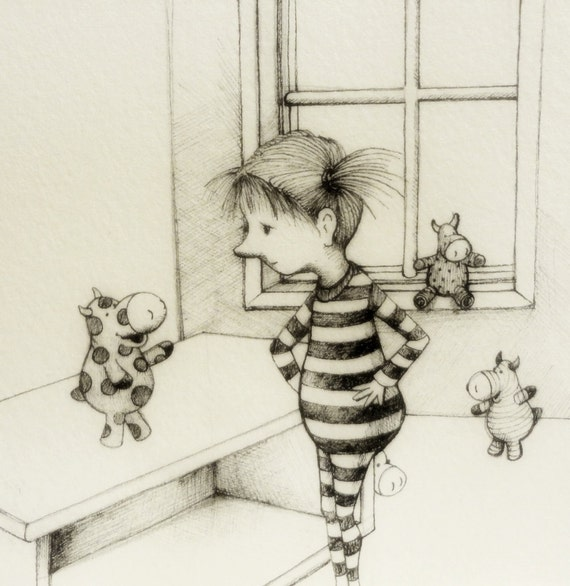 Little girl with sock gobblins and ink illustration 4/3/12