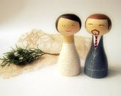 Wedding Cake Toppers - Personalized - Wooden art doll hand painted