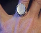 REDUCED Mother of pearl sterling silver ring size 9 to 9 1 /2