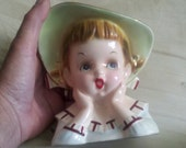 "REDUCED Head Vase  Little Girl   made in 1960  By "" Napco"" no longer on hold"