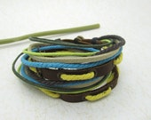 Blue Fashion leather bangle,men's cuff bracelet made by brown leather bracelet and colorful cotton cord  LB336