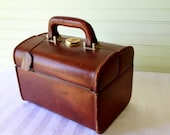 Vintage Italian Leather Train/Travel Case Rich Brown Leather Luggage