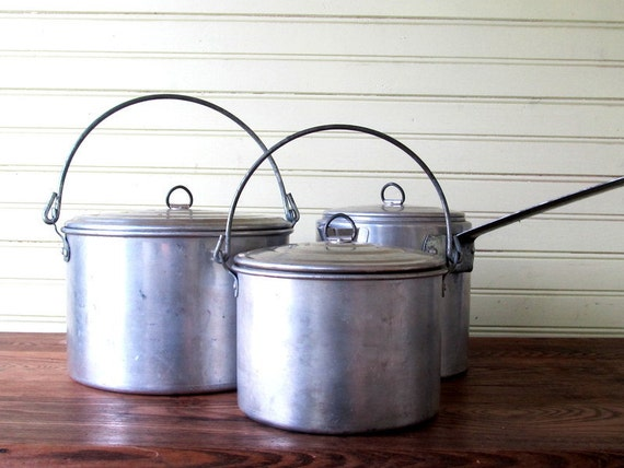 Vintage Camping Metal Aluminum Cookware Pots and Coffee Pot with Lids