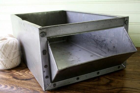 Industrial Metal Gray Vintage Bin/Box Factory Storage