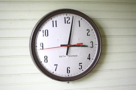 Industrial Wall Clock Vintage Seth Thomas Metal