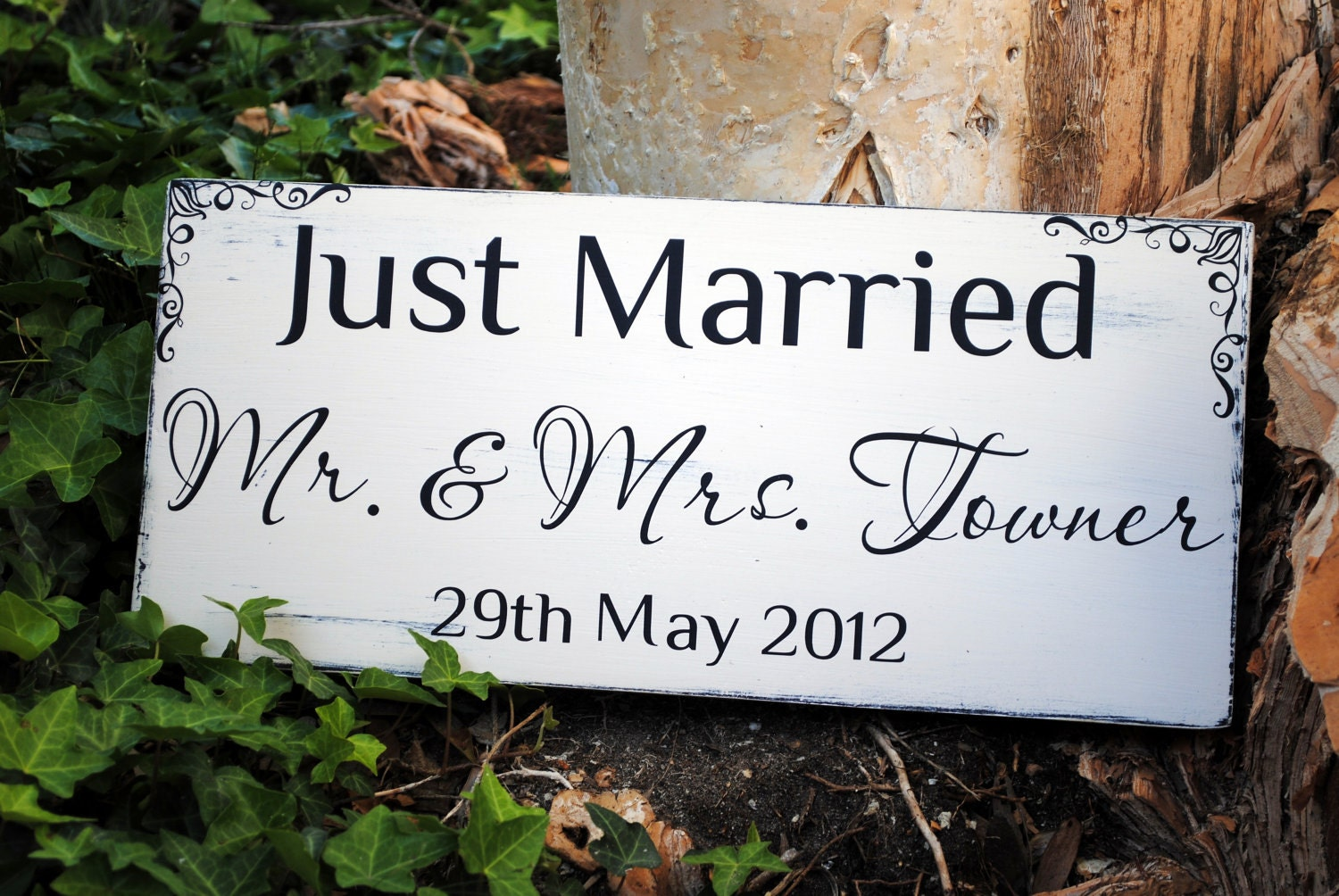 Just married sign rustic wedding decor wedding by for Just married dekoration