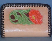 Beautiful, bright hand tooled leather zippered coin purse - L012