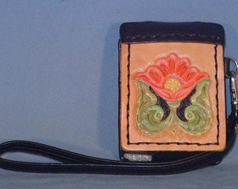 Cute and Handy little iPod Nano case - Hand Tooled Leather front - L024