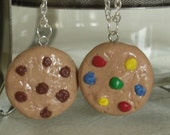 Polymer Clay Charms Chocolate Chip Cookie and Chip Ahoy Cookie Best Friend Necklaces Clay Miniatures