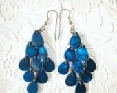 Blue Teardrops Dangle Earrings