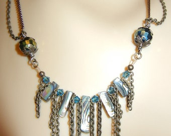 Abalone, Crystals n' Antique Brass Chain Necklace