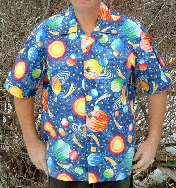 XL Hawaiian Shirt  with Planets and Stars and Comets with Sparkly Silver Outlines mens handmade