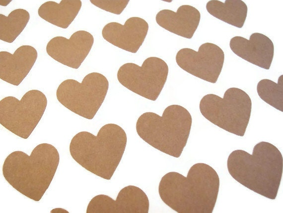 "24 Kraft Brown 3/4"" Heart Stickers / Seals - Mini 3/4 inch Size - Labels"