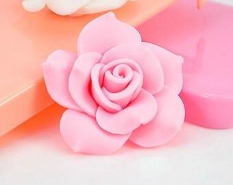 2PCS 40MM Pink Flowers Flatback resin jewelry accessories supplies