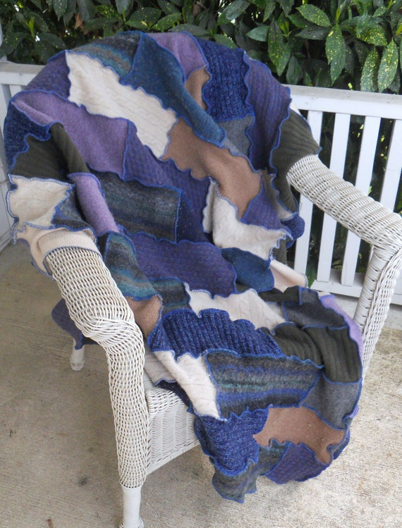 Recycled Sweater Blanket Blues Purple Bricks Upcycled Wool Thankful Rose Bedroom Afghan Quilt