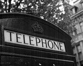 Travel London Telephone Booth Black and White Photograph