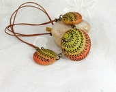 Polymer Clay Necklace, Textured Beads Rustic Green Red
