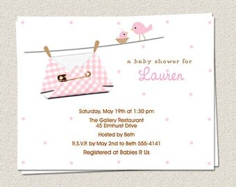 10 Personalized Baby Diaper Shower Invitations - Girl Boy Gender Neutral - Handmade PRINTED