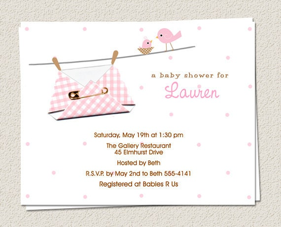 10 Personalized Baby Diaper Shower Invitations Girl Boy