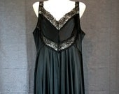 1970's Vintage Midnight Black Nylon Maxi Nightgown