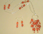 Red Glass Chandelier Style Pendant Necklace & Earrings