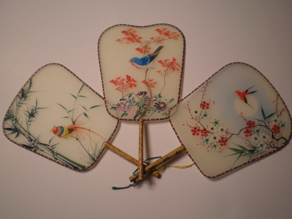 3 Silk Hand Painted Fans Bamboo Handles