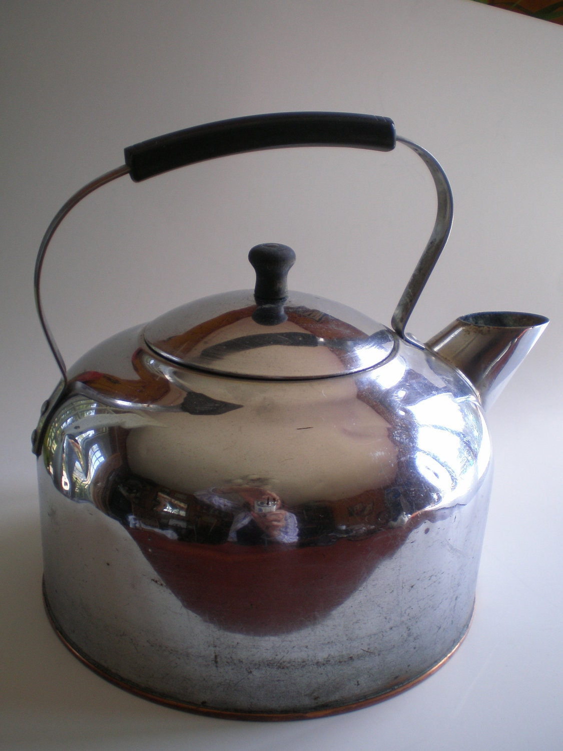 Large Revere Ware Tea Kettle 1801 Solid Copper Chrome Plated