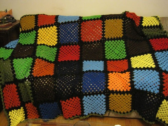 Vibrant Large Square Pattern Crochet Afghan Throw Blanket - Green Red Blue Brown Black Yellow - FREE SHIPPING