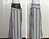 long skirt corset bohemian embroidery wool silk boning