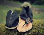 Black womens sandals. Suede fabric shoes. Size 37-40