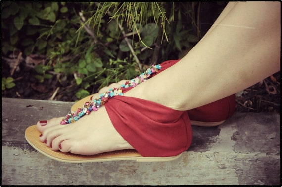 SALE 35%. Size us 7-  7.5. Red shoes. womens suede fabric sandals. Size US 7-7.5, EUR 38