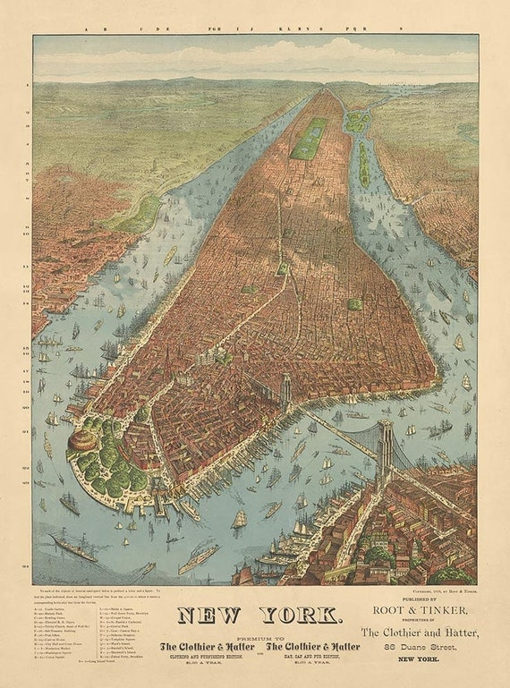 Antique Map Of New York City 1879  Archival Reproduction