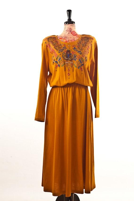 Mustard Boho Dress /// Printed Maxi Mustard Dress
