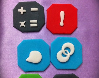 edible/fondant IPhone apps cupcake topper set of 8