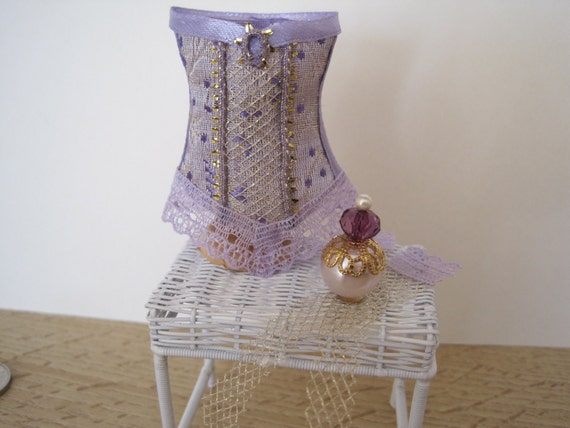 12th Scale (Dollshouse ) Ladies  Pure Silk Brocade Lilac Corset/Basque, Perfume and Stockings