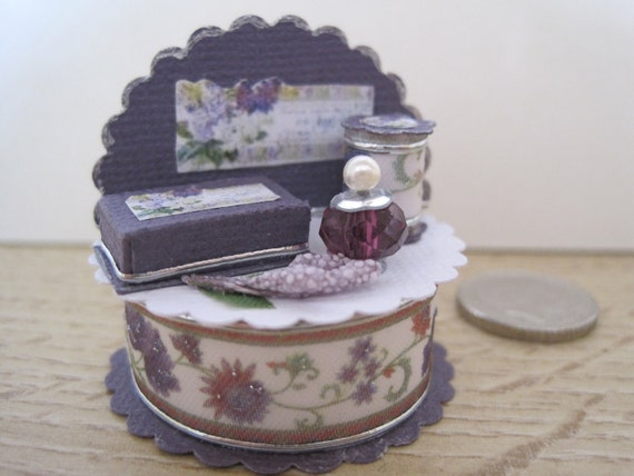 12th Scale (Dollshouse) Shabby Chic Perfume Display Stand in Lilac