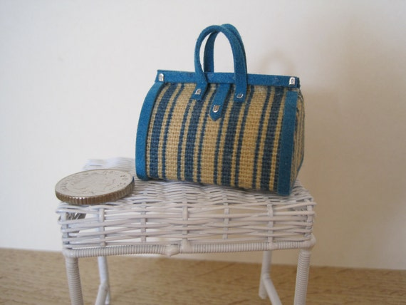 12th Scale (Dollshouse) Canvas Bag/Holdall in Turquoise and Biege