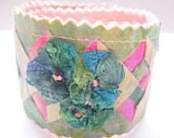 Soft Jewelry fabric cuff triple focal on the garden gate