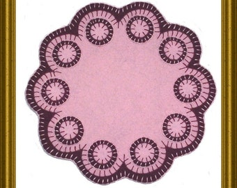 Pattern for wool felt penny rug candle mat
