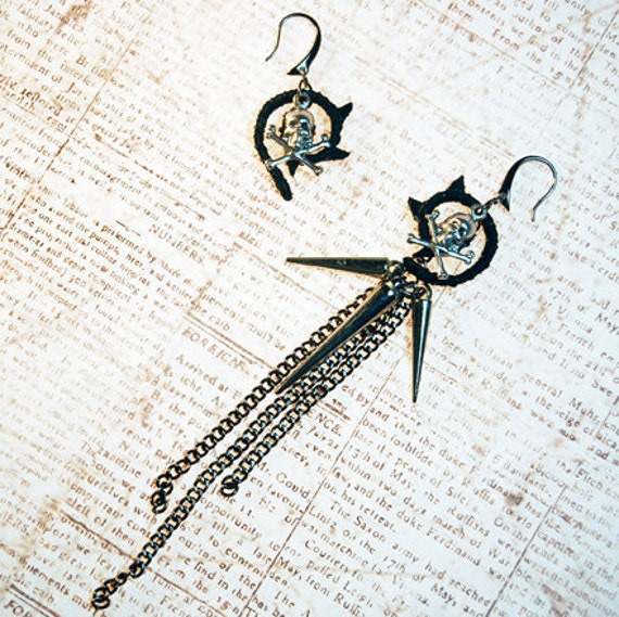 Salander Asymetrical Earrings - Inspired by The Girl With The Dragon Tattoo