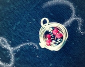 Bird Nest Necklace - Grey and Red