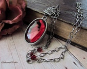 Antique Silver Red Glass Cab Necklace, Long Chain Red Jewel Stone Necklace