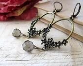 Antique Brass Floral Hoop Earrings, Antique Brass Smoke Glass Drops Earrings