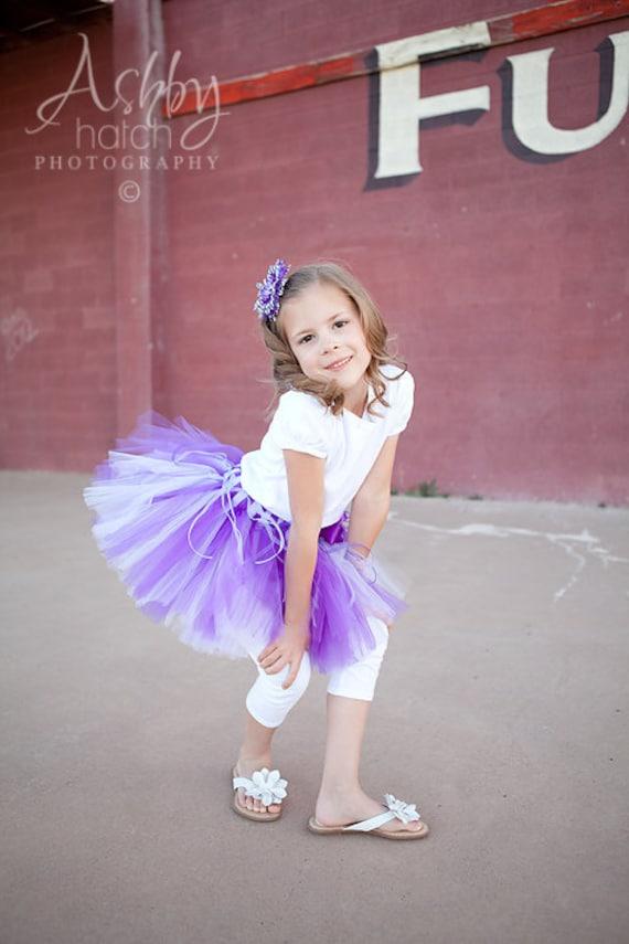 PURPLICIOUS DELIGHT--Custom Made Hand-Tied Tutu Skirt with Free Flower Clip, Sizes Newborn-5T