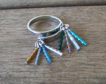 SALE 15% OFF!!  Adjustable Ring with Multicolor Fringe Dangles