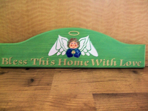 """Handpainted Wooden Angel """"Bless This Home With Love"""" Sign"""