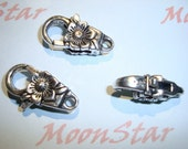 3 Pcs -  Large Antique Silver Lobster Clasp with Rose Detail Lead Free Pewter Jewelry Connector